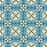 Ornamento geométrico abstrato, teste padrão sem emenda azul brilhante em cores vibrantes ilustração royalty free