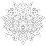 Ornamento geométrico circular Mandala redonda del esquema para la página del libro de colorear Foto de archivo