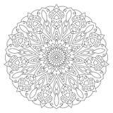 Ornamento geométrico circular Mandala redonda del esquema para la página del libro de colorear Imagen de archivo libre de regalías