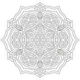 Ornamento geométrico circular Mandala redonda del esquema para la página del libro de colorear Imagen de archivo