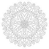 Ornamento geométrico circular Mandala redonda del esquema para la página del libro de colorear stock de ilustración