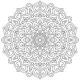 Ornamento geométrico circular Mandala redonda del esquema para la página que colorea Imagenes de archivo