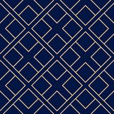 Ornamento geométrico de oro en fondo azul Modelo inconsútil Fotografía de archivo