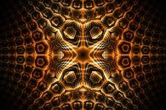 Ornamento geométrico detalhado dourado abstrato no fundo preto Imagens de Stock Royalty Free