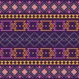 Ornamento geométrico do folclore de Ikat Textura étnica tribal do vetor Teste padrão listrado sem emenda no estilo asteca Figura  imagens de stock royalty free