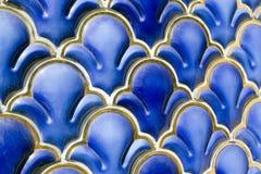 Ornamento geométrico esmaltado azul Imagen de archivo libre de regalías