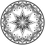 Ornamento geométrico redondo da mandala Elemento abstrato do projeto Símbolo desenhado à mão isolado no fundo branco Fotografia de Stock Royalty Free