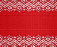 Ornamento geométrico vermelho e branco do Natal feito malha Projeto da textura da camiseta do inverno da malha do Xmas ilustração stock