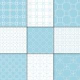 Ornamento geométricos azuis e brancos Coleção de testes padrões sem emenda Foto de Stock