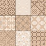 Ornamento geométricos bege de Brown Coleção de testes padrões sem emenda Imagens de Stock