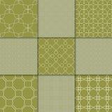 Ornamento geométricos do verde azeitona Coleção de testes padrões sem emenda Fotos de Stock