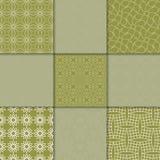 Ornamento geométricos do verde azeitona Coleção de testes padrões sem emenda Imagens de Stock