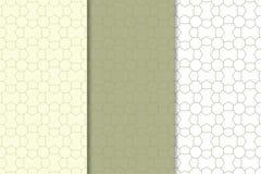 Ornamento geométricos do verde azeitona e os brancos Jogo de testes padrões sem emenda Fotografia de Stock