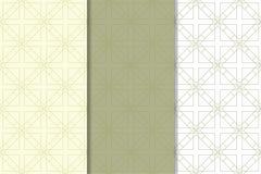 Ornamento geométricos do verde azeitona e os brancos Jogo de testes padrões sem emenda Fotos de Stock Royalty Free