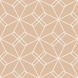 Ornamento geometrico beige e bianco Reticolo senza giunte Fotografia Stock Libera da Diritti