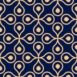 Ornamento geometrico blu dorato Reticolo senza giunte royalty illustrazione gratis
