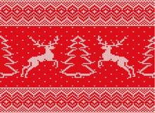 Ornamento hecho punto de la Navidad con los ciervos y el árbol de navidad libre illustration