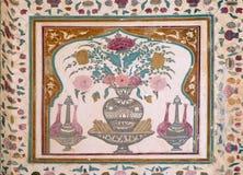 Ornamento hermoso en la pared del palacio en Amber Fort en Jaipur Foto de archivo