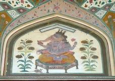 Ornamento hermoso en la pared del palacio en Amber Fort en Jaipur Imagen de archivo libre de regalías