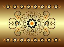 Ornamento horizontal com flor Fotografia de Stock