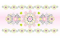 Ornamento horizontal com flor Imagens de Stock