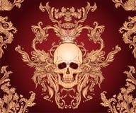 Ornamento inconsútil barroco Modelo del estilo del damasco con el cráneo Diseño adornado del vintage para el papel pintado, envol ilustración del vector