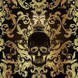Ornamento inconsútil barroco Modelo del estilo del damasco con el cráneo Diseño adornado del vintage para el papel pintado, envol libre illustration