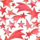 Ornamento inconsútil de la Navidad con las estrellas de la acuarela imagen de archivo