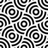 Ornamento inconsútil del fondo del modelo de círculos concéntricos rayados Mosaico retro de arcos en blanco y negro Vector stock de ilustración