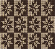 Ornamento inconsútil del marrón del suéter del modelo que hace punto Foto de archivo