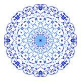Ornamento indio, estampado de flores caleidoscópico, mandala Diseño hecho en el estilo y los colores rusos del gzhel Imágenes de archivo libres de regalías
