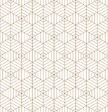 Ornamento japonês tradicional sem emenda Kumiko Linhas de cor douradas Fotos de Stock