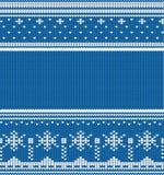 Ornamento lineares sem emenda feitos malha do inverno Fotos de Stock