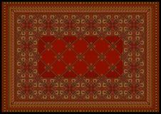 Ornamento lussuoso in tonalità rosse per tappeto classico Fotografia Stock Libera da Diritti