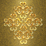 Ornamento metallico 3d dell'oro Immagine Stock