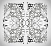 Ornamento monocromático abstracto del zentangle Fotografía de archivo libre de regalías