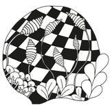 Ornamento monocromático abstrato do zentangle Fotografia de Stock Royalty Free