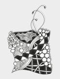Ornamento monocromático abstrato do zentangle Fotos de Stock Royalty Free
