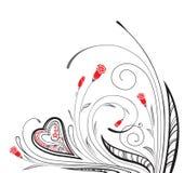 Ornamento monocromático con el corazón y los elementos florales Fotos de archivo