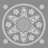 Ornamento monocromatico con un centro rotondo illustrazione vettoriale