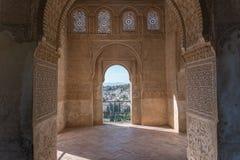Ornamento Moresque de Alhambra Islamic Royal Palace, Granada, fotos de stock