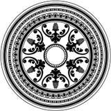 Ornamento negro decorativo redondo aislado en blanco Imagen de archivo