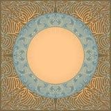 Ornamento nel cerchio con i rami dell'uva su un fondo con un modello astratto Fotografie Stock Libere da Diritti