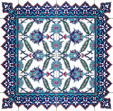 Ornamento oriental aislado del estampado de flores de la teja Imagenes de archivo