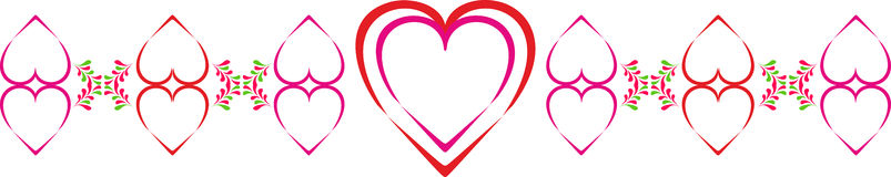Ornamento para el día de tarjeta del día de San Valentín con los corazones y los pétalos verdes estilizados Corazones multicolore Foto de archivo