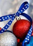 Ornamento patriótico de la Navidad Foto de archivo