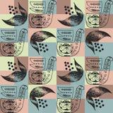 Ornamento popular en las figuras geométricas de colores azules y rosados ilustración del vector