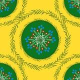Ornamento popular verde em uma cor amarela ilustração stock