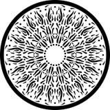 Ornamento preto e branco da circular da mandala do esboço Imagem de Stock Royalty Free
