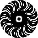 Ornamento preto e branco da mandala do vetor do sumário, onda, ilustração da estrela do centro ilustração royalty free